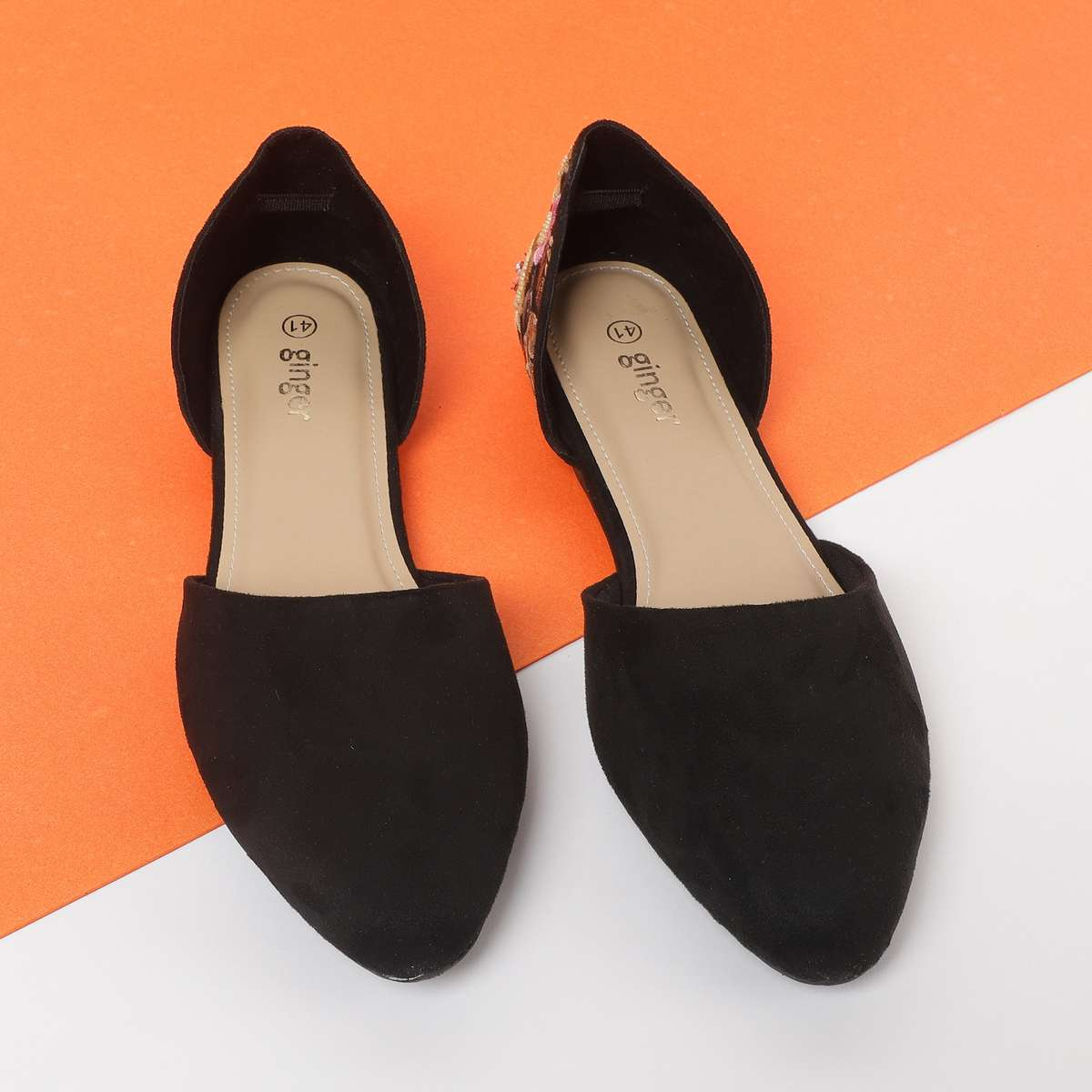 2.GINGER Women Embroidered D'Orsay Flats