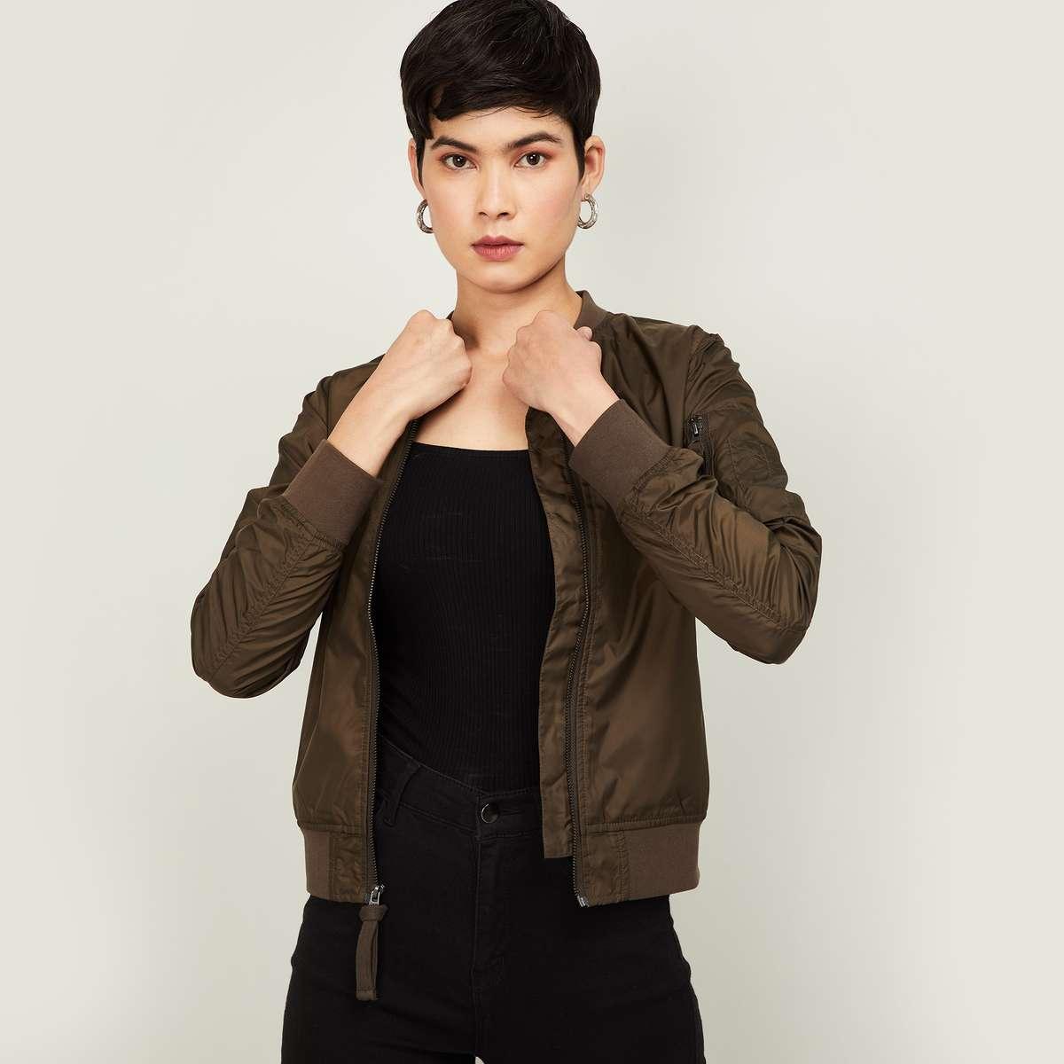 1.BOSSINI Women Solid Bomber Jacket with Baseball Collar