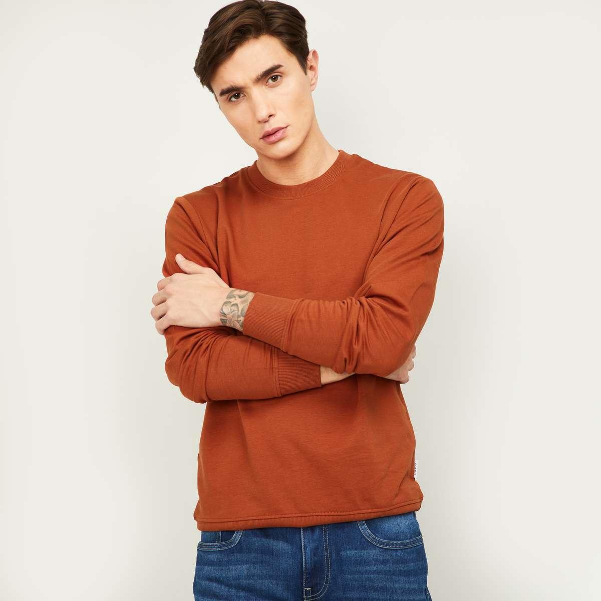 3.FAME FOREVER Men Solid Full Sleeves Sweatshirt