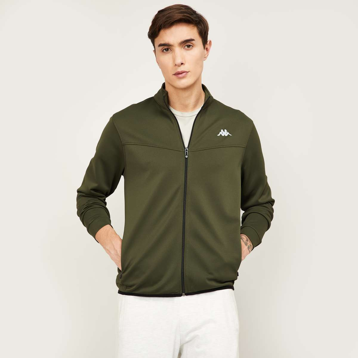 4.KAPPA Men Solid Full Sleeves Sweatshirt