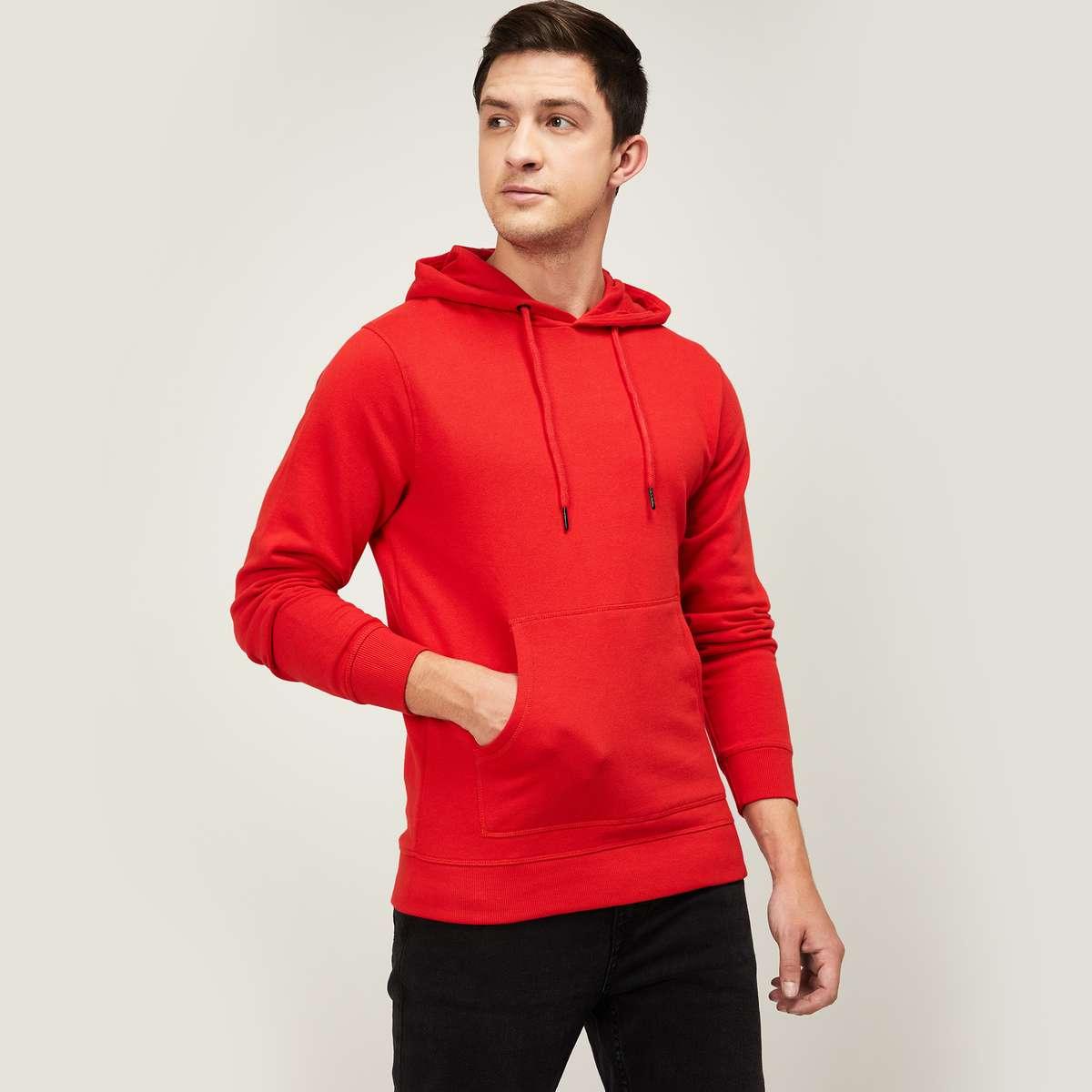 5.DENIMIZE Men Solid Hooded Sweatshirt