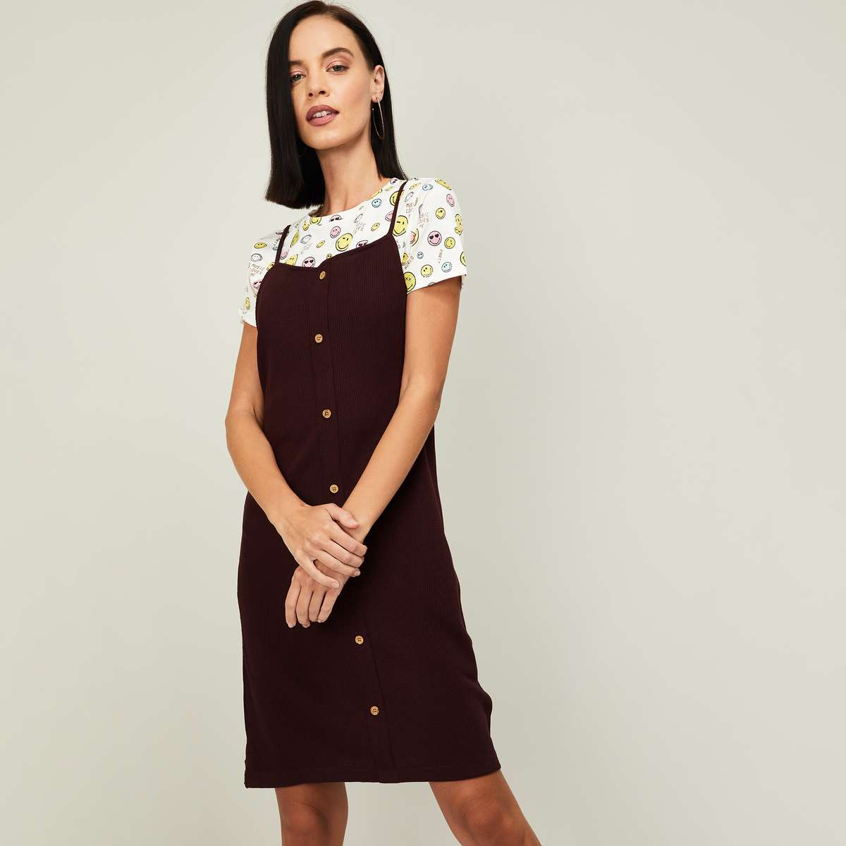 3.SMILEY WORLD Women Textured Pinafore Dress with Printed Top