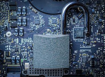 Cyber security lock. Security computer Data Internet protection with lock, key on microscheme chip. Hacker attack and data breach, information leak concept.