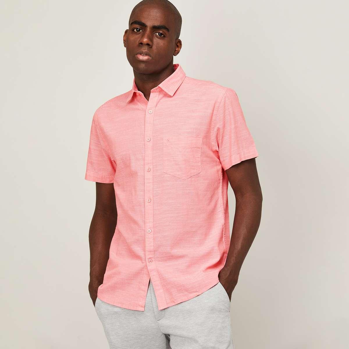 3.CODE Men Solid Regular Fit Casual Shirt