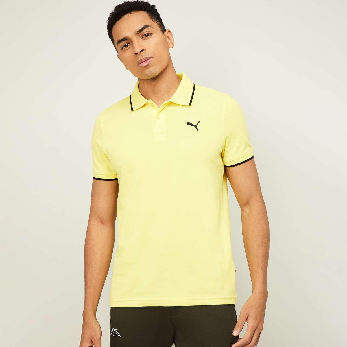 1.PUMA Men Solid Regular Fit Polo T-shirt