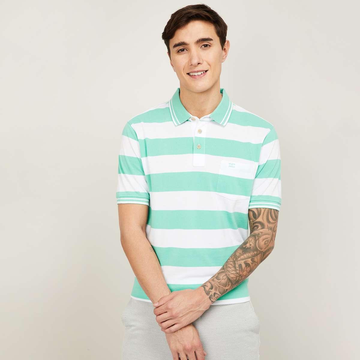 2.COLORPLUS Men Striped Polo T-Shirt