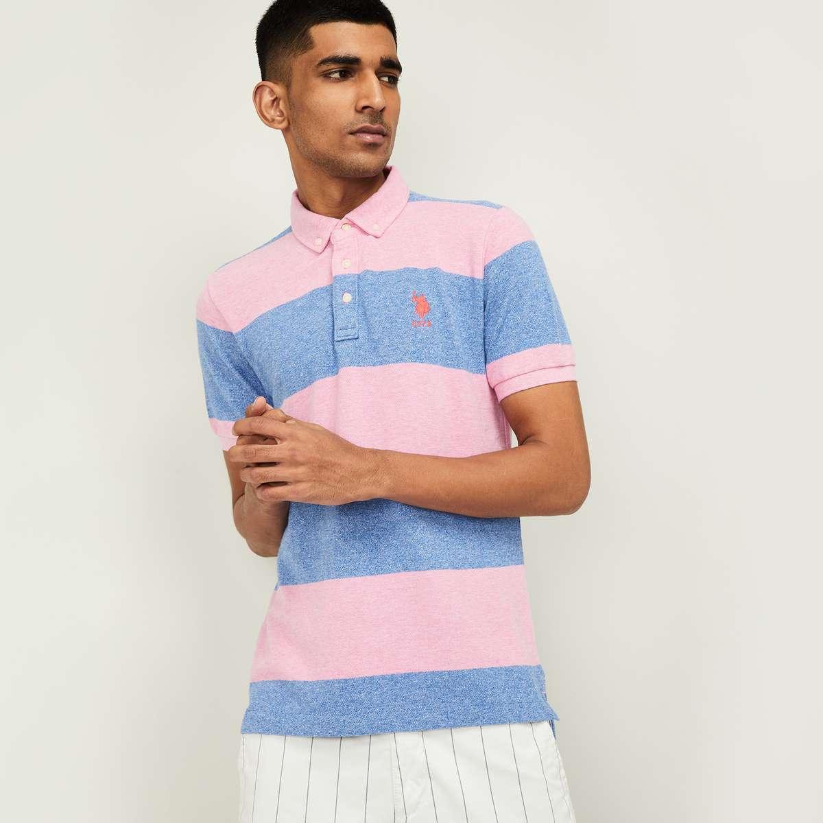 4.POLO ASSN. Men Striped Regular Fit Polo T-shirt