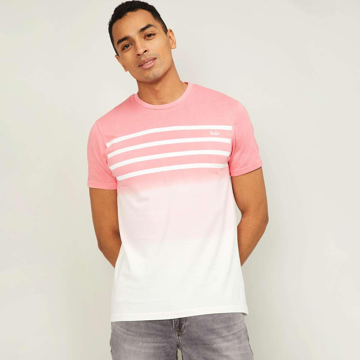 1.UCLA Men Ombre Regular Fit Crew Neck T-shirt