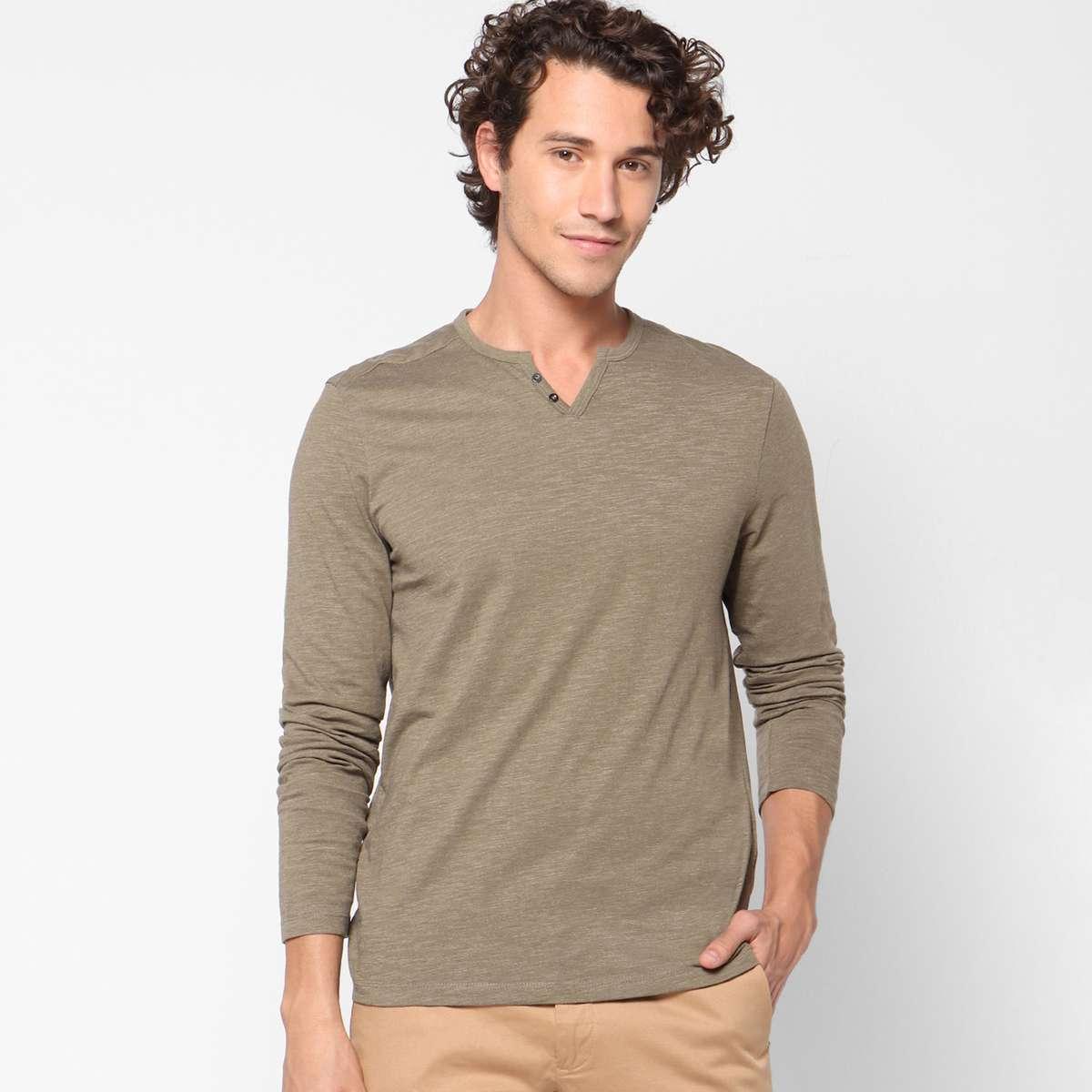 3.CELIO Men Solid Slim Fit Henley T-shirt