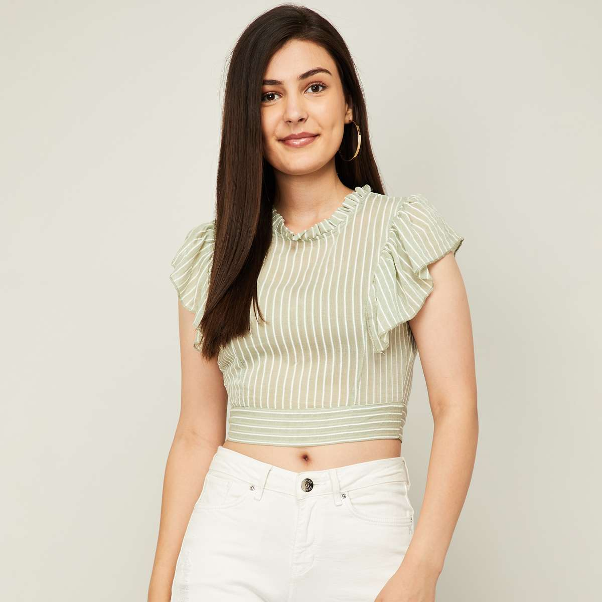 2.GINGER Women Striped Styled Back Crop Top