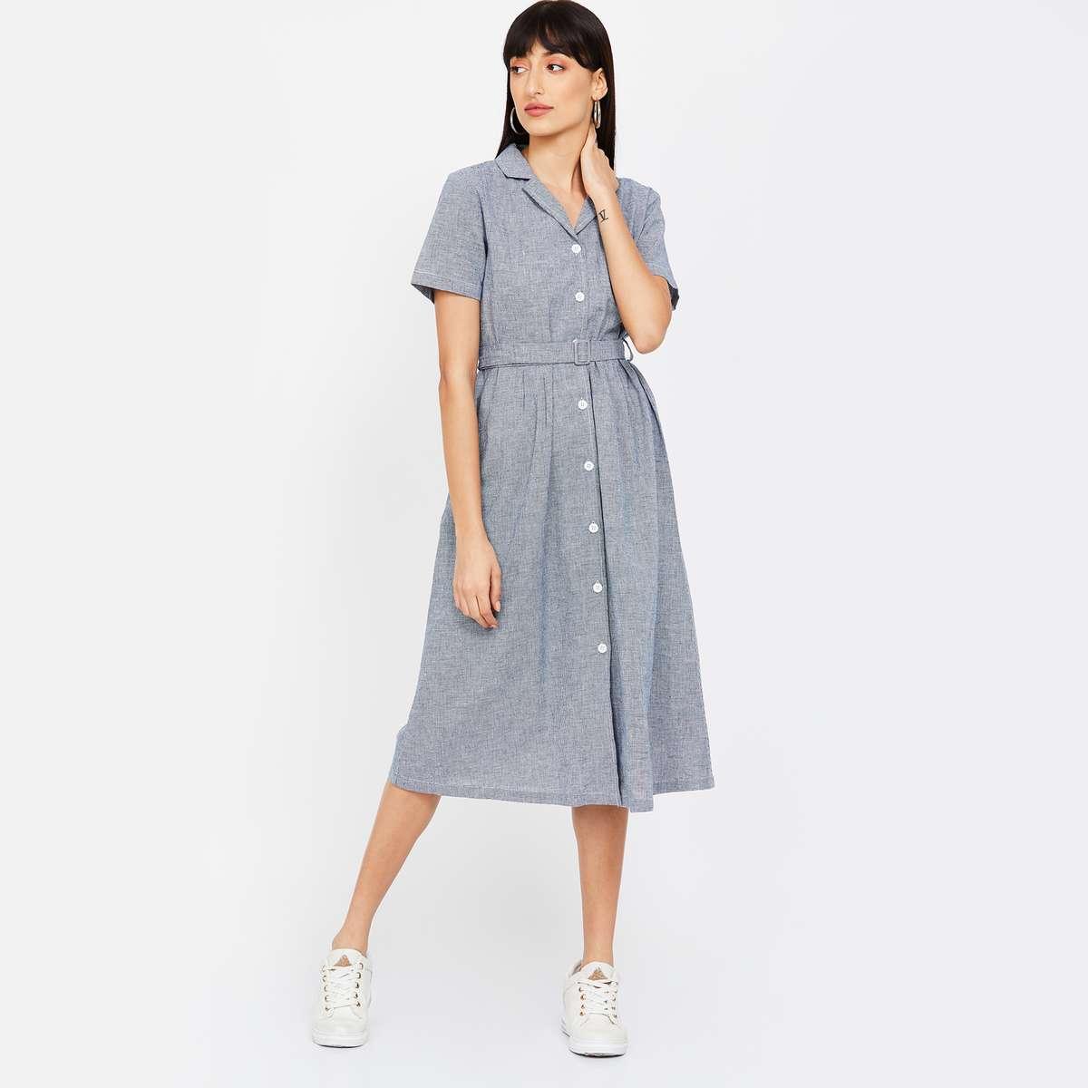 5.BOSSINI Textured Midi Dress