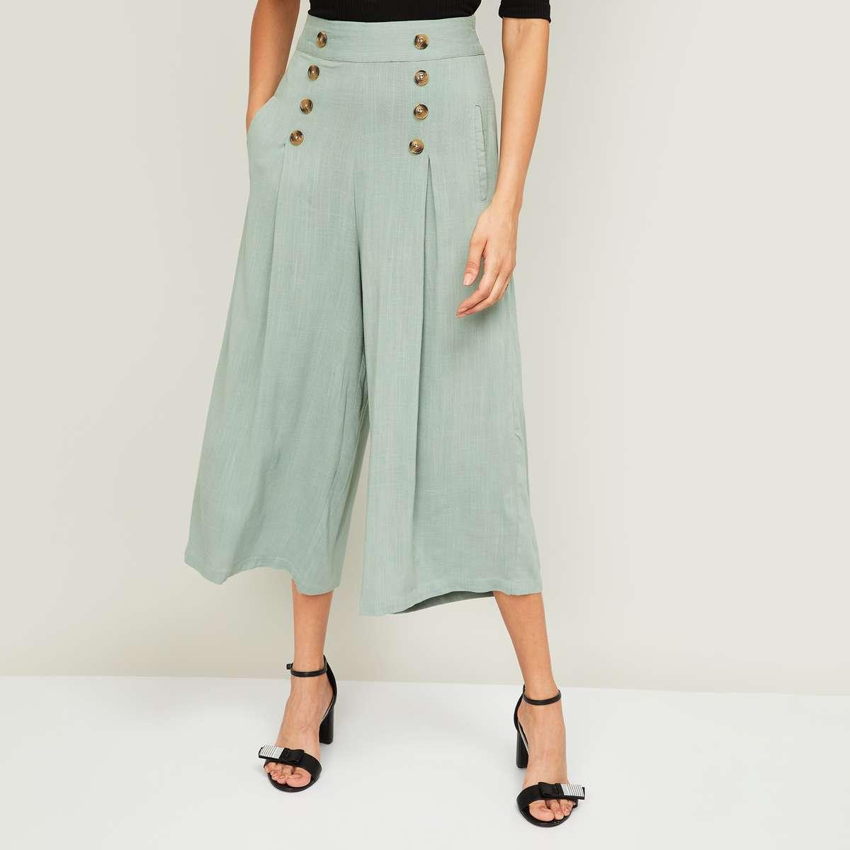 8.CODE Women Solid Elasticated Culottes