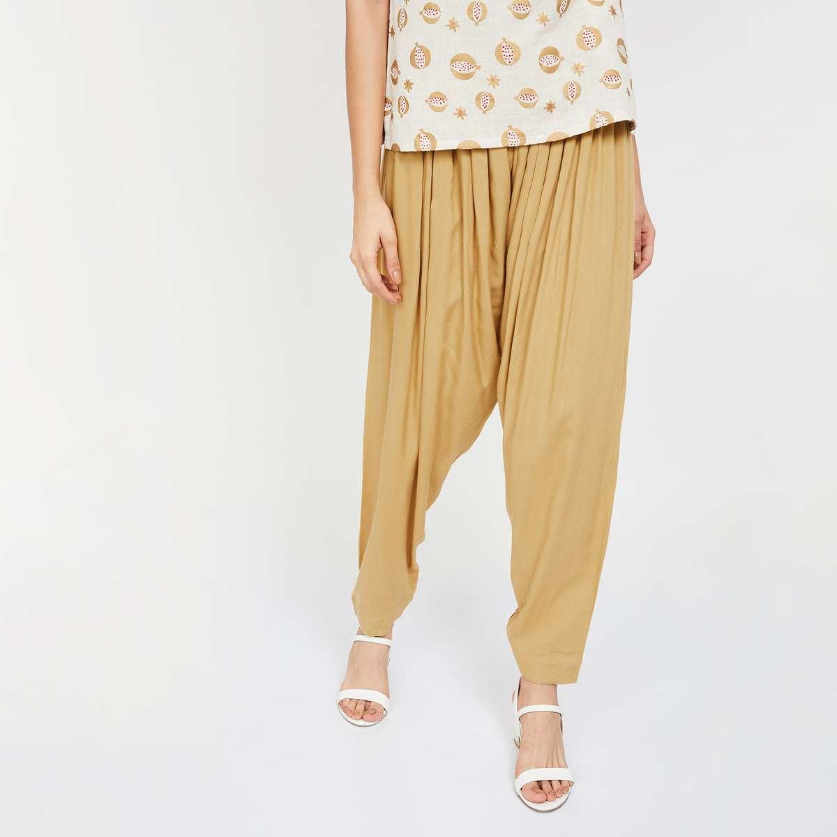 6.DE MOZA Solid Elasticated Patiala Pants