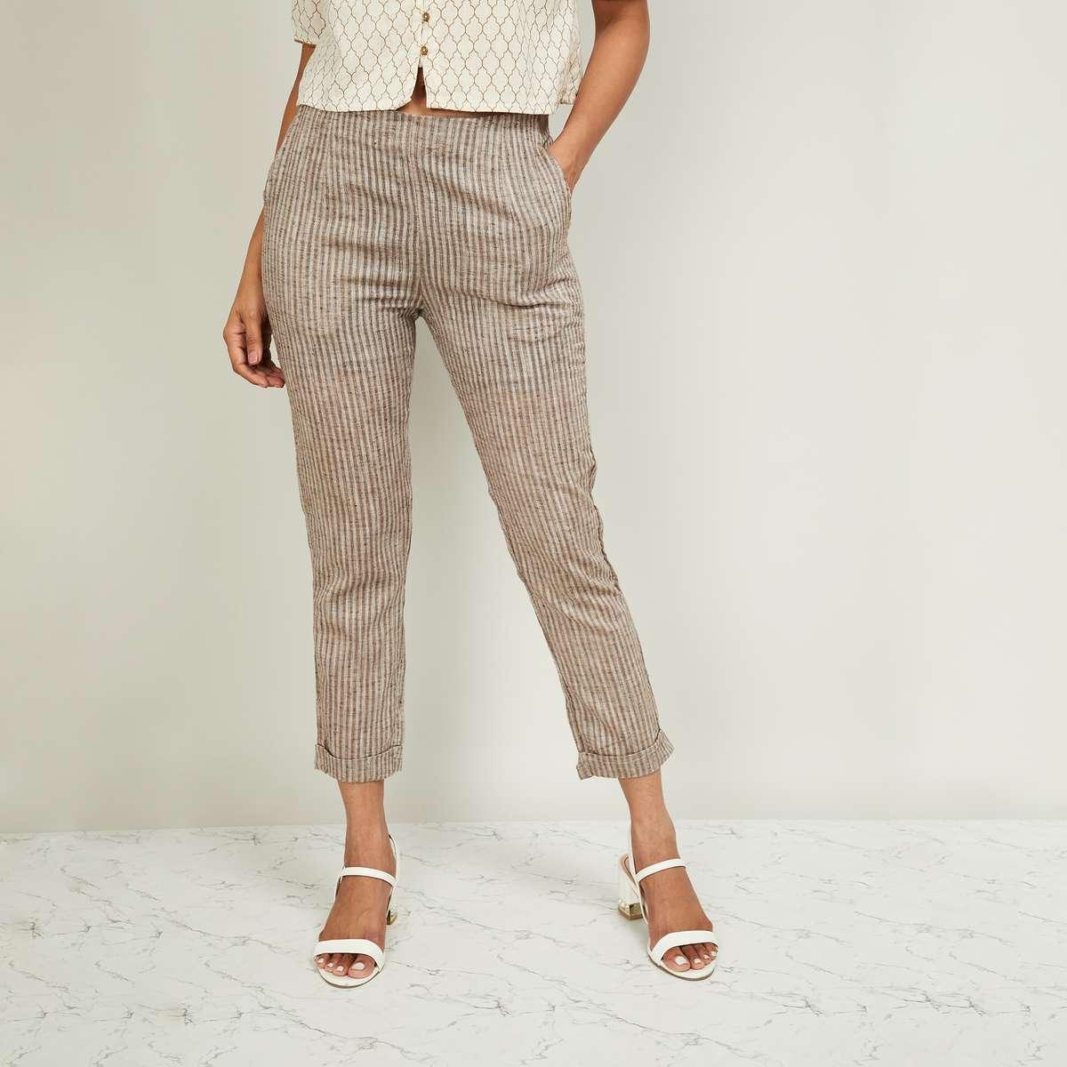 7.DE MOZA Women Striped Straight Pants