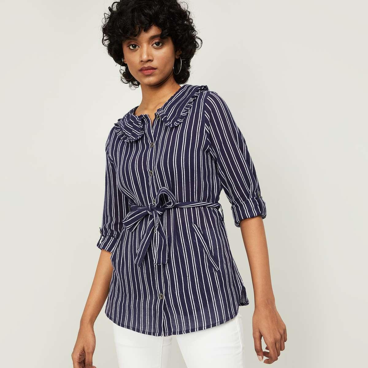 1.FAME FOREVER Women Striped Shirt