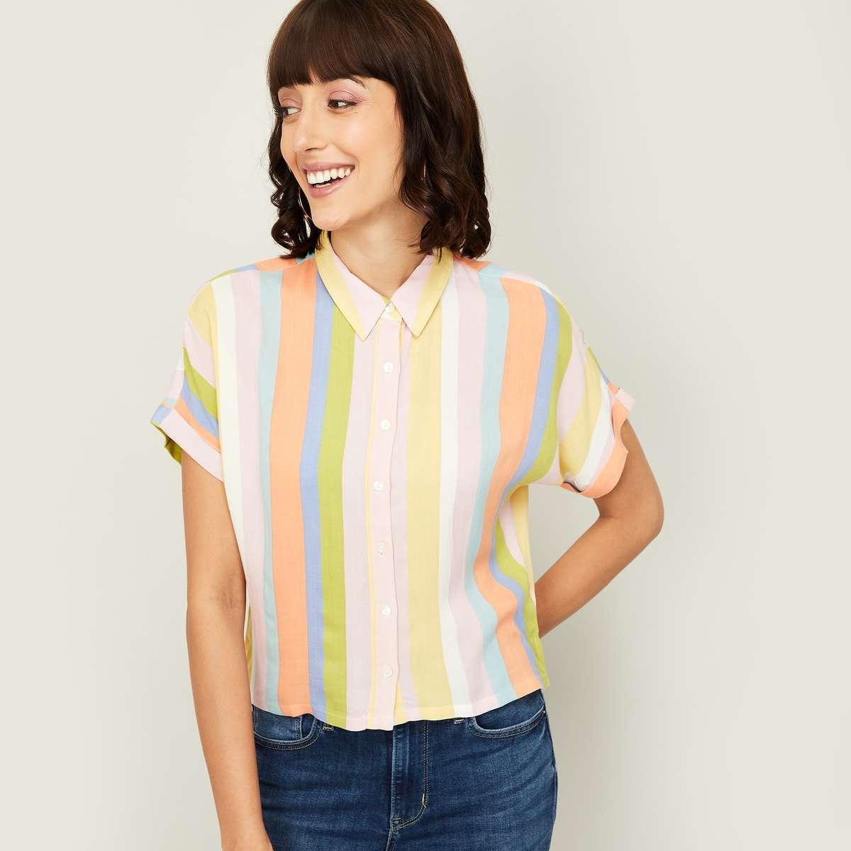 2.GINGER Women Striped Short Sleeves Casual Shirt