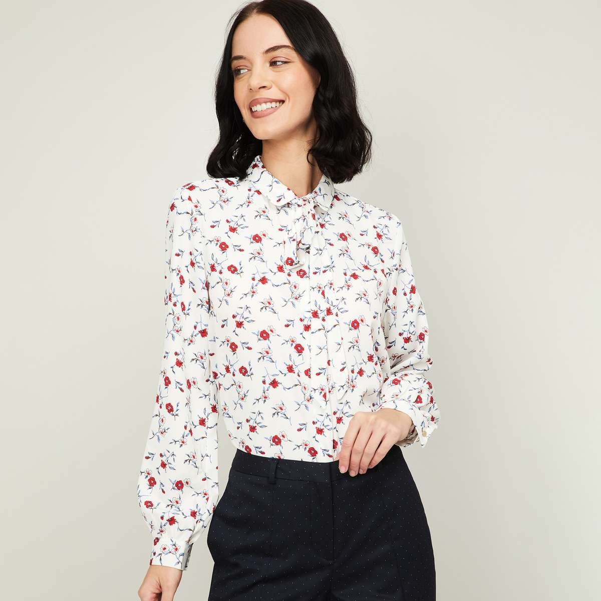 1.VAN HEUSEN Women Floral Print Tie-Up Neck Shirt