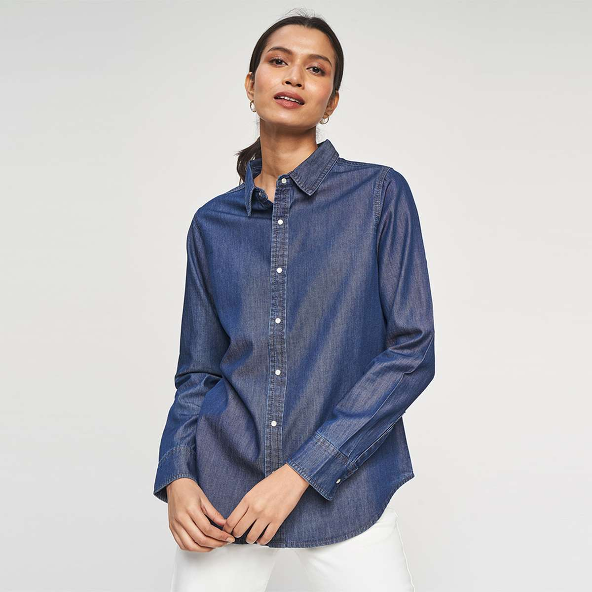 2.AND Women Shimmery Denim Shirt