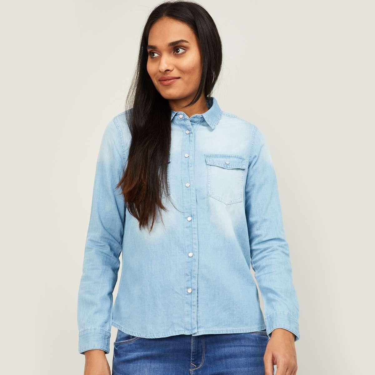 1.FAME FOREVER Women Washed Denim Shirt