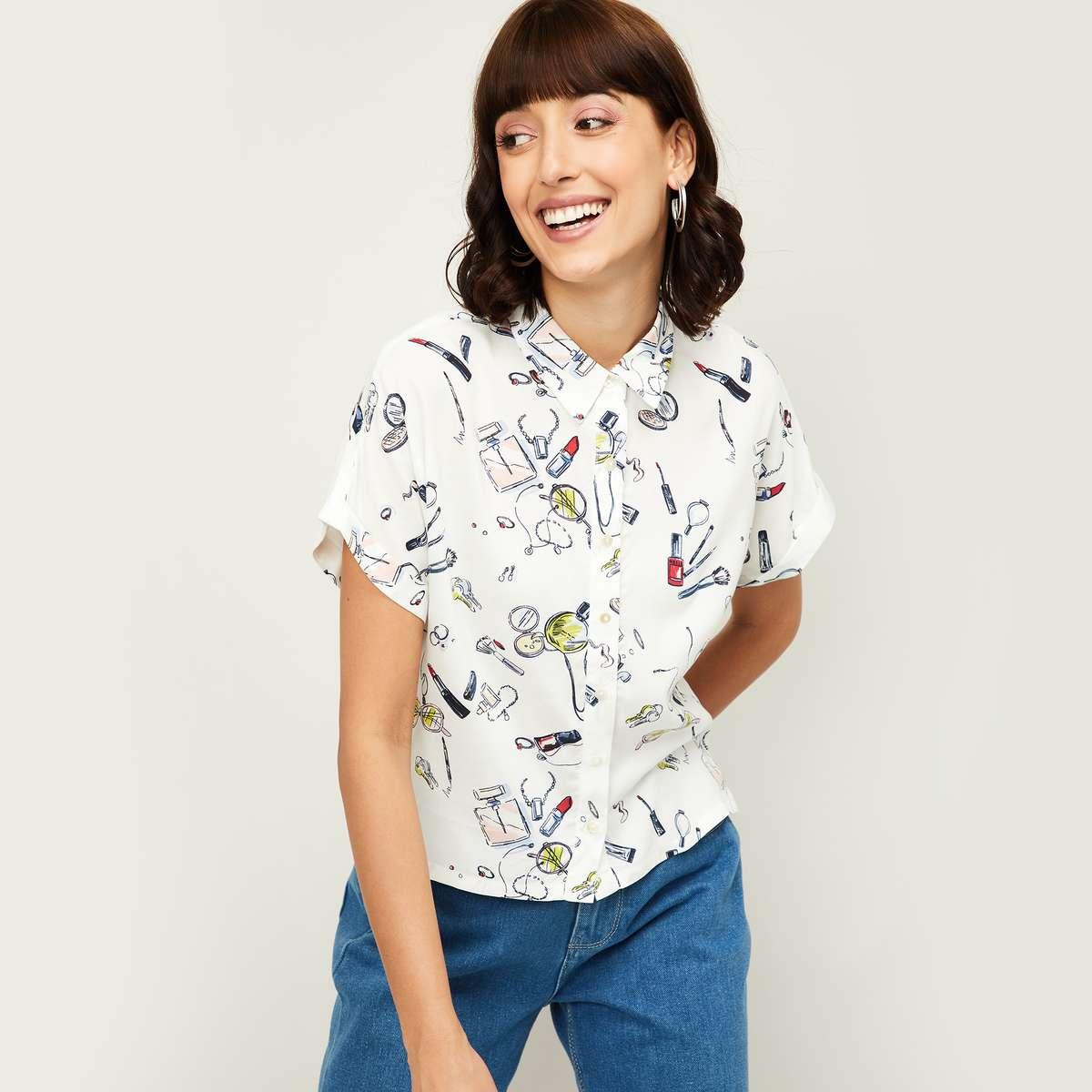 2.GINGER Women Printed Short Sleeves Casual Shirt