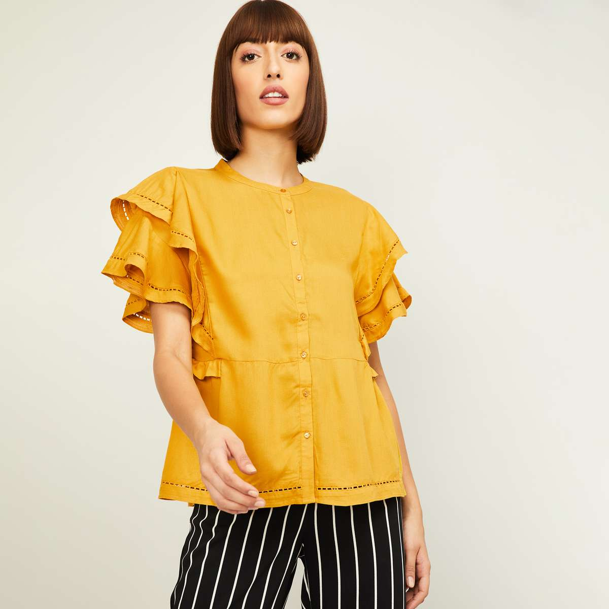 2.ALLEN SOLLY Solid Top with Layered Sleeves and Button Closure