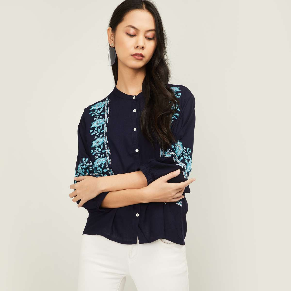1.FAME FOREVER Women Embroidered Shirt
