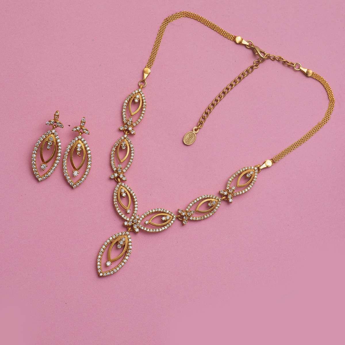 1.ESTELE Embellished Necklace and Earrings Set