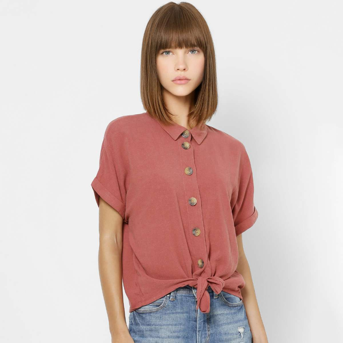 1.ONLY Women Solid Shirt with Knot Detail and Short Sleeves