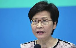 Hong Kong Chief Executive Carrie Lam speaks during a press conference in Hong Kong, Monday, Aug. 2, 2021. Hong Kong said Monday it would reclassify countries into high, medium and low-risk and update quarantine requirements to favor vaccinated travelers as it sought to prevent imported coronavirus infections from leaking into the community. (AP Photo/Vincent Yu)