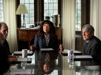 """Ken Bolden as professor Plum, left to right, Sandra Oh as Ji-Yoon, and Mark Philip Stevenson as professor Pollack are seen in a publicity still handout photo on set of the show """"The Chair"""". Oh faces controversy as the first female chair in the English department of a prestigious university in Netflix's """"The Chair."""" THE CANADIAN PRESS/HO-Netflix, Eliza Morse, *MANDATORY CREDIT*"""