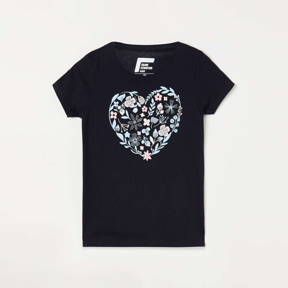 3.FAME FOREVER YOUNG Girls Printed Round Neck T-shirt
