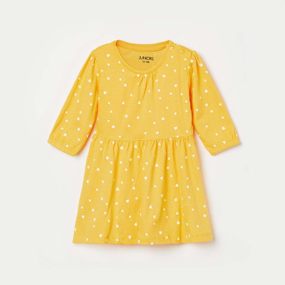 1.JUNIORS Girls Printed Round Neck A-line Dress