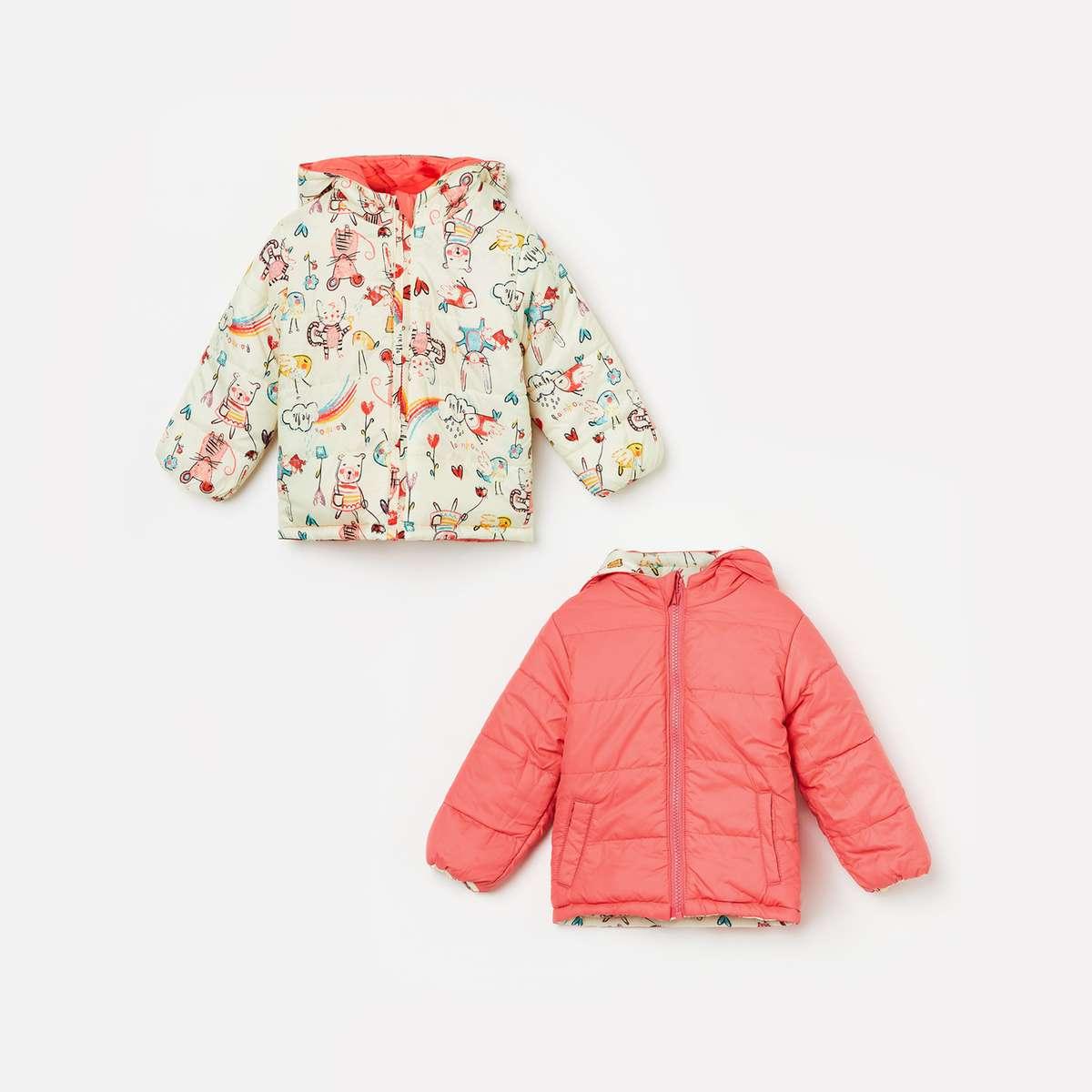 2.JUNIORS Girls Printed Reversible Hooded Bomber Jacket
