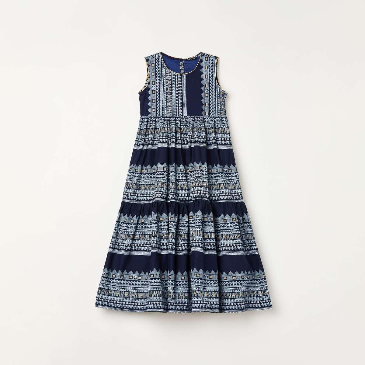3.MELANGE Girls Printed Tiered Maxi Dress