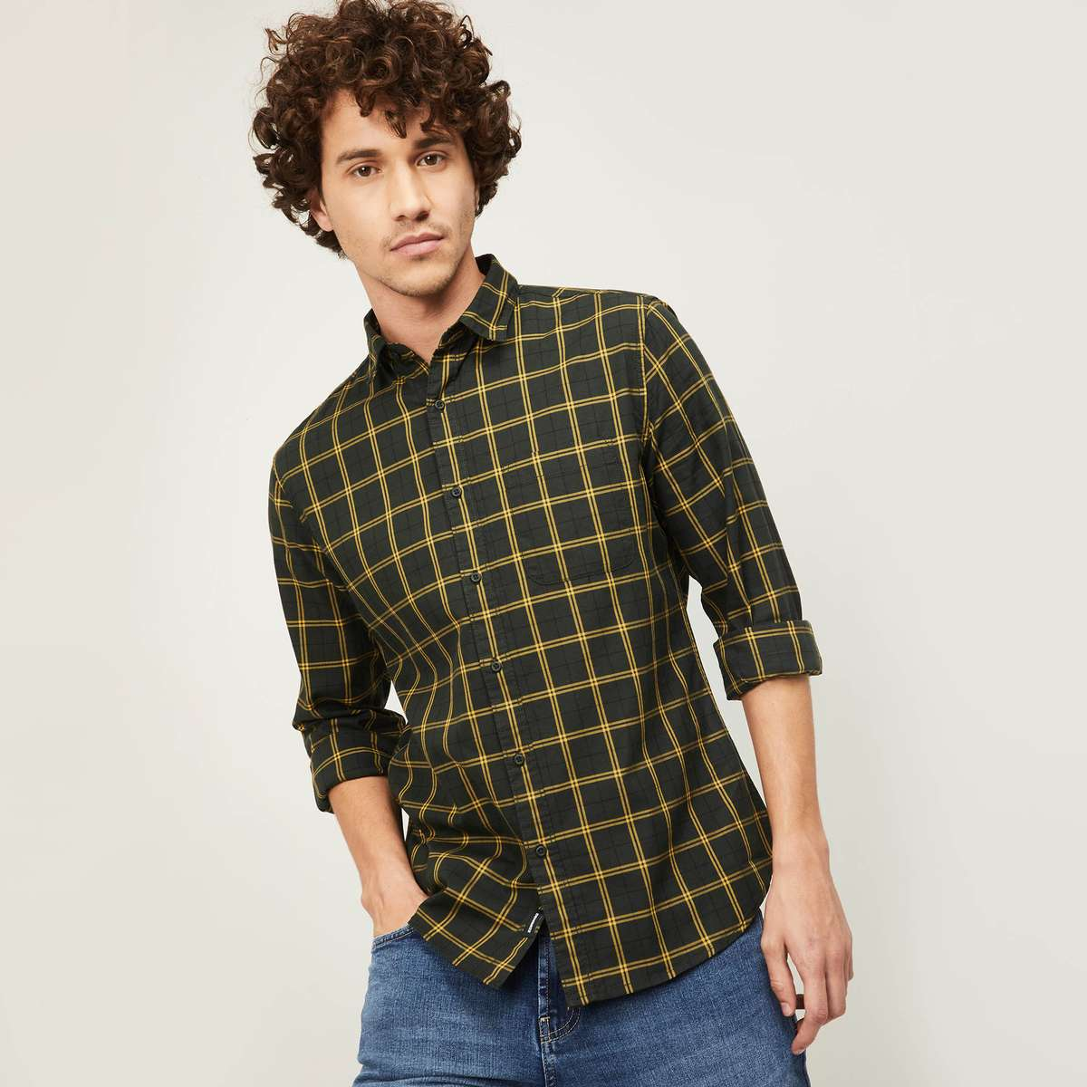 1.DENIMIZE Men Checked Regular Fit Casual Shirt