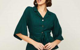1.CODE Women Solid Woven Top