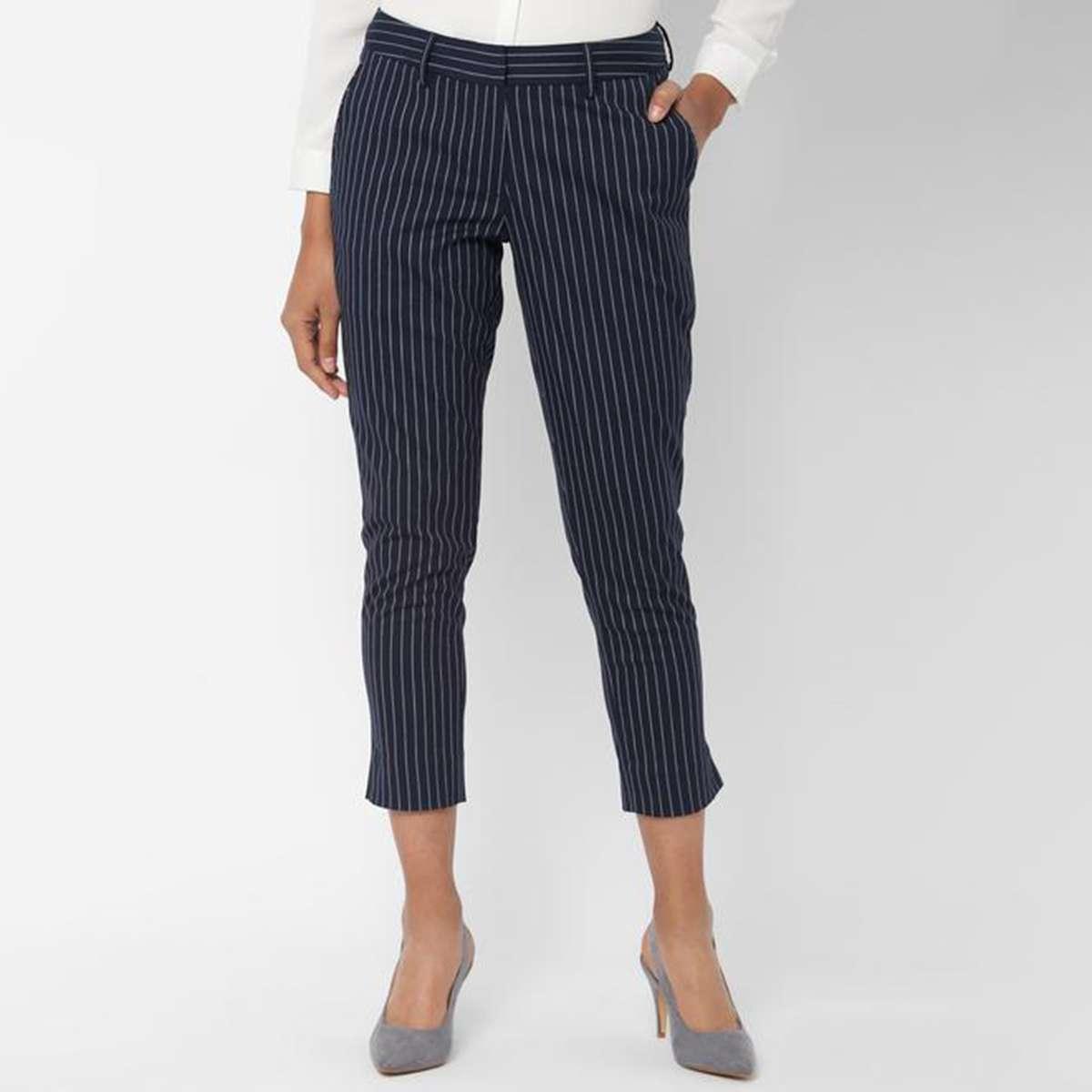 1.ALLEN SOLLY Women Striped Formal Trousers