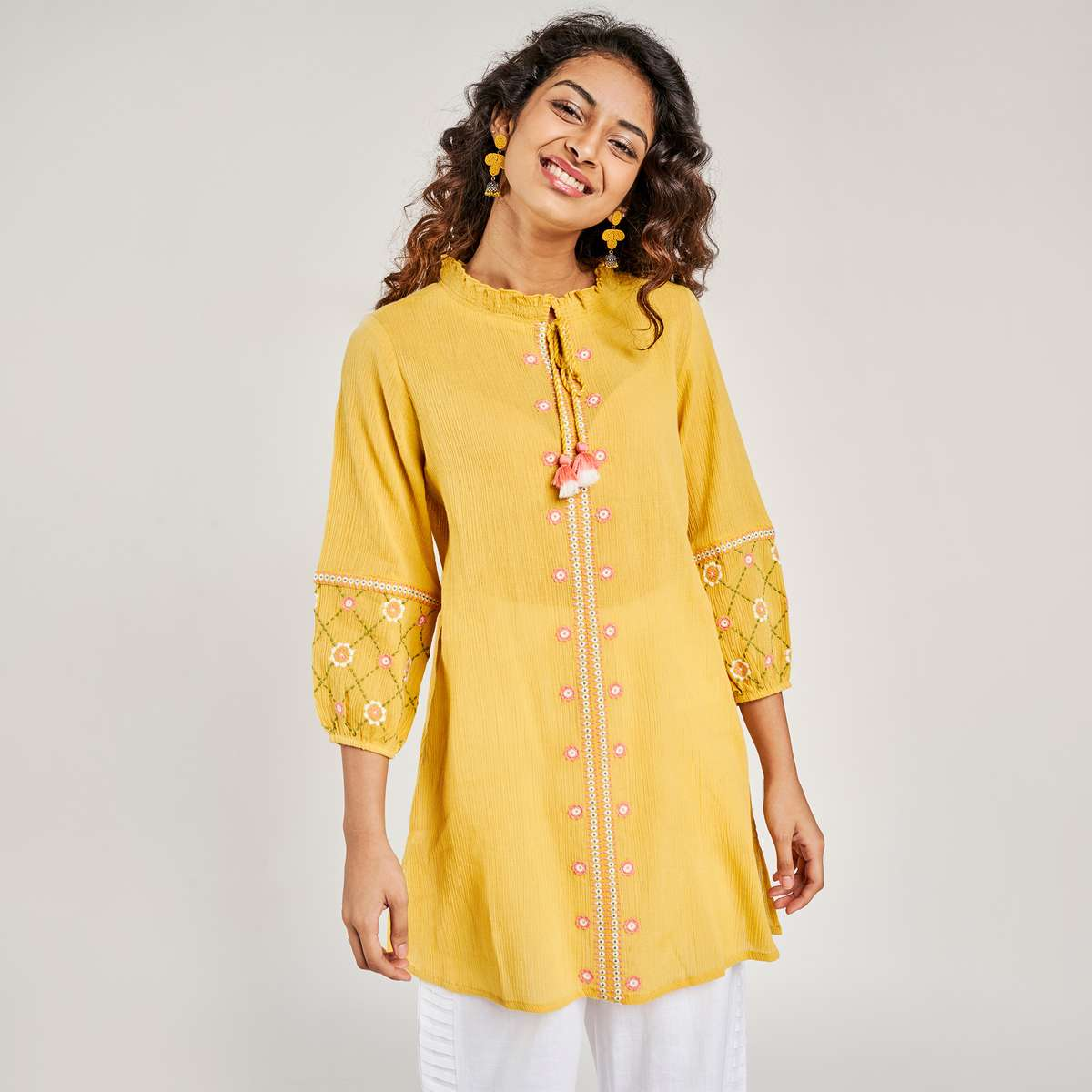 3.GLOBAL DESI Women Embroidered Tunic With Tassel Tie-Up