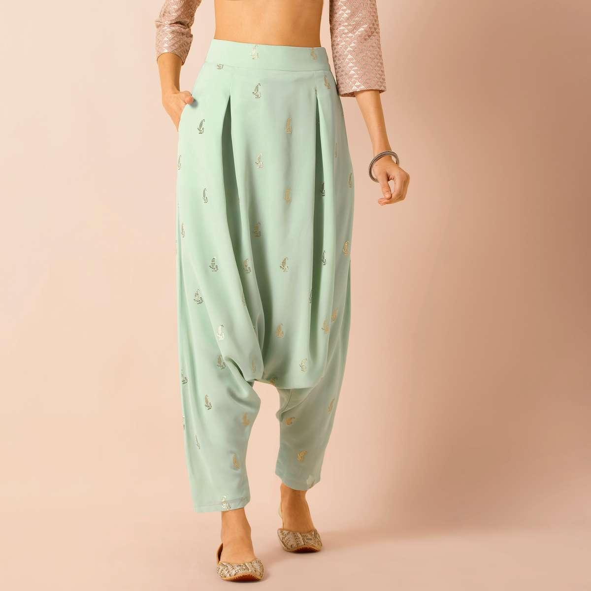 4.INDYA Women Embroidered Dhoti Pants