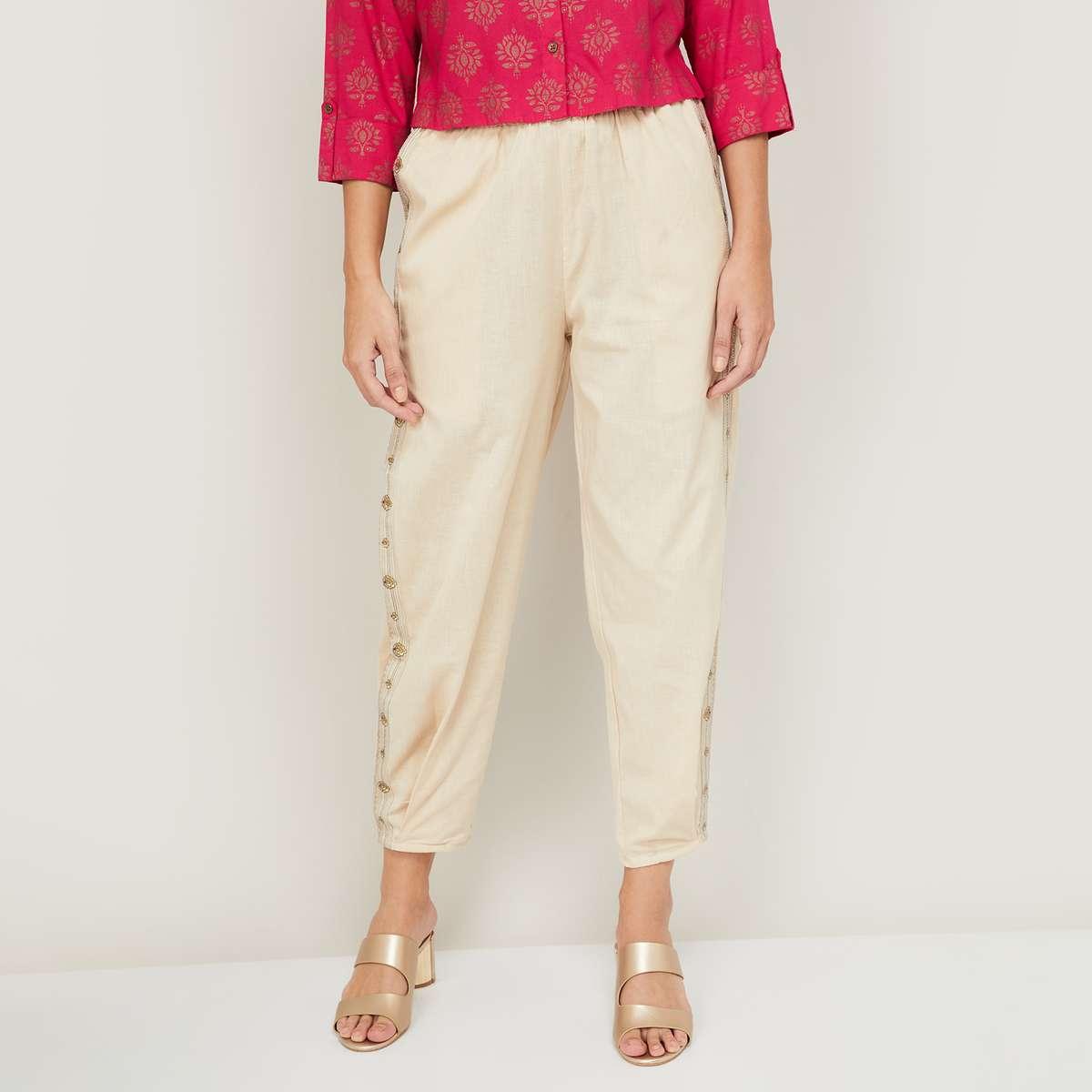 2.MELANGE Women Embroidered Straight Pants