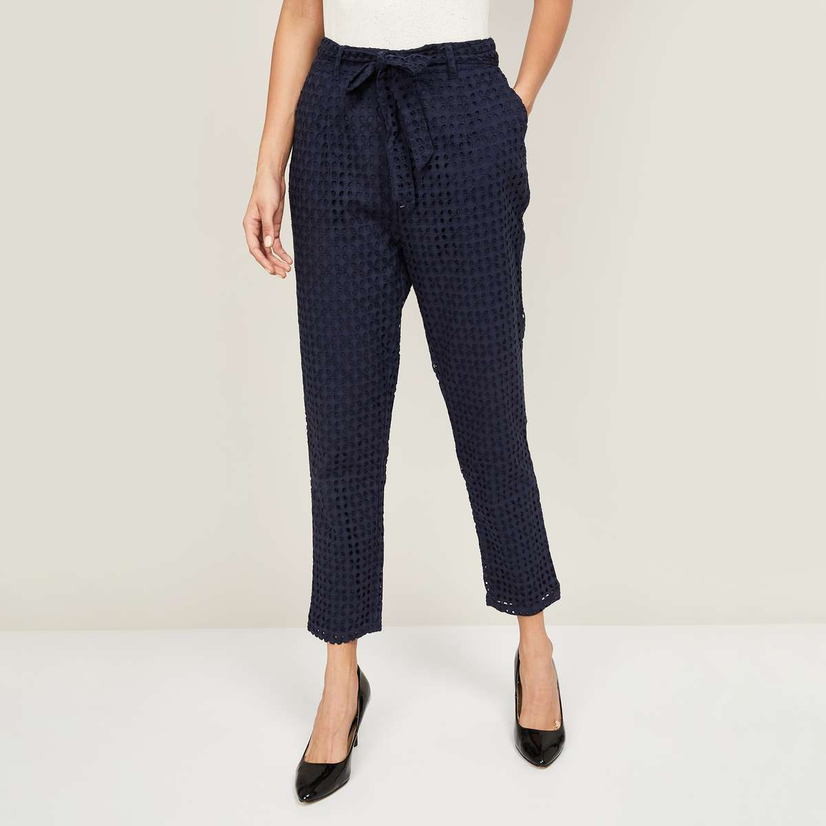 3.BOSSINI Women Embroidered Woven Trousers