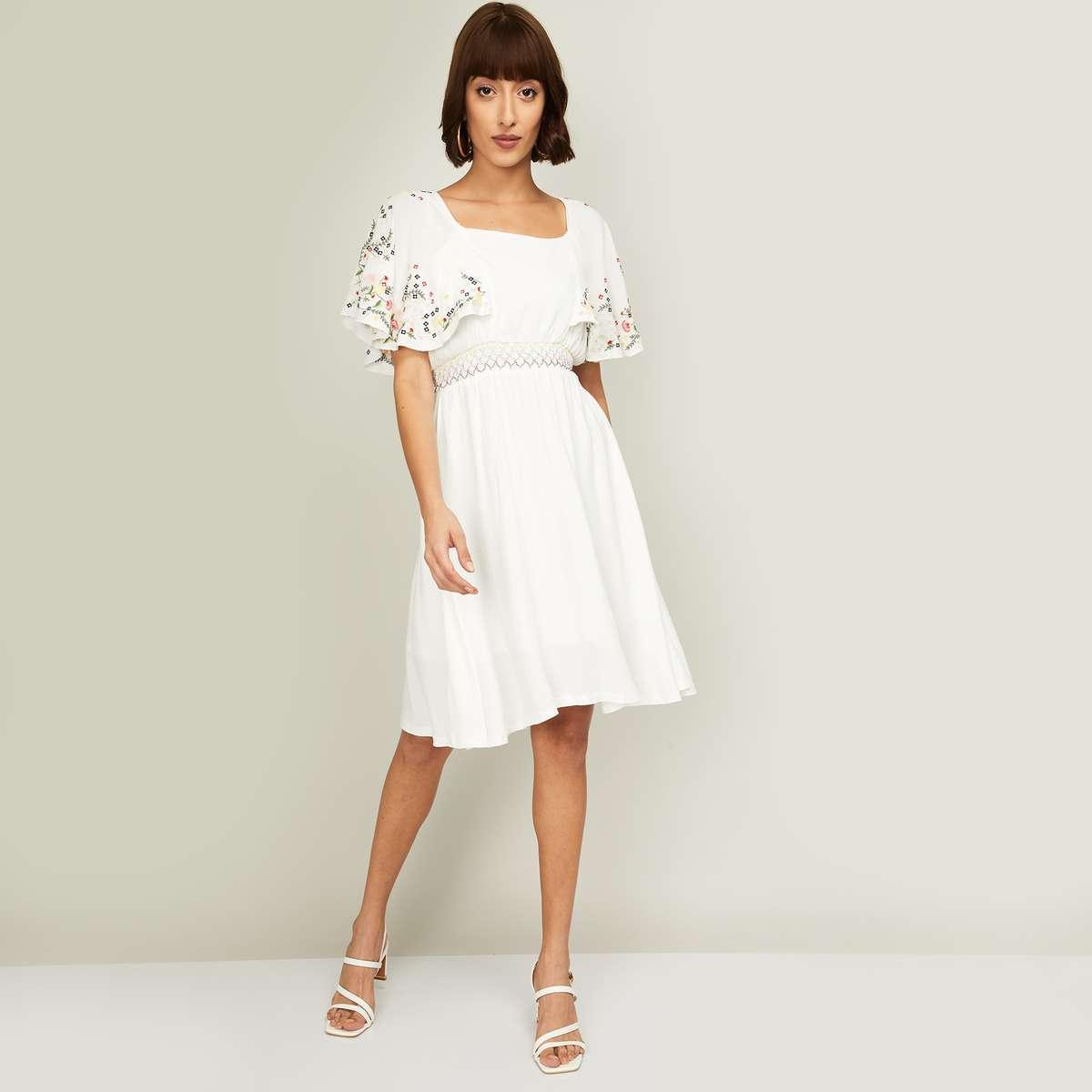 1.CODE Women Embroidered Flutter Sleeves A-Line Dress