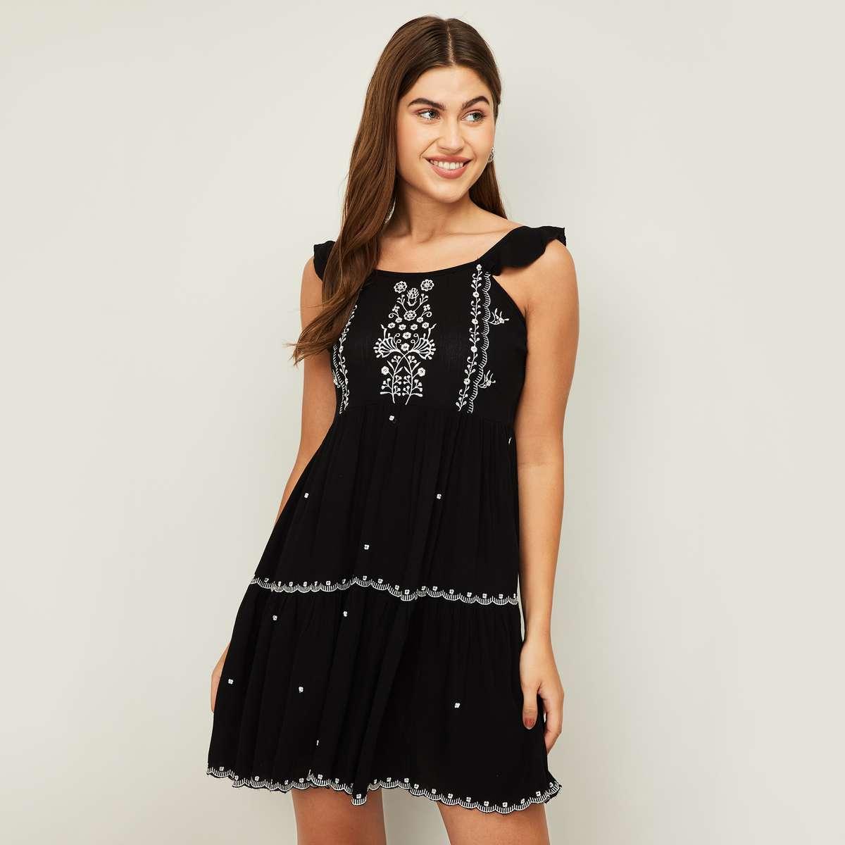 3.GINGER Women Embroidered Mini Dress