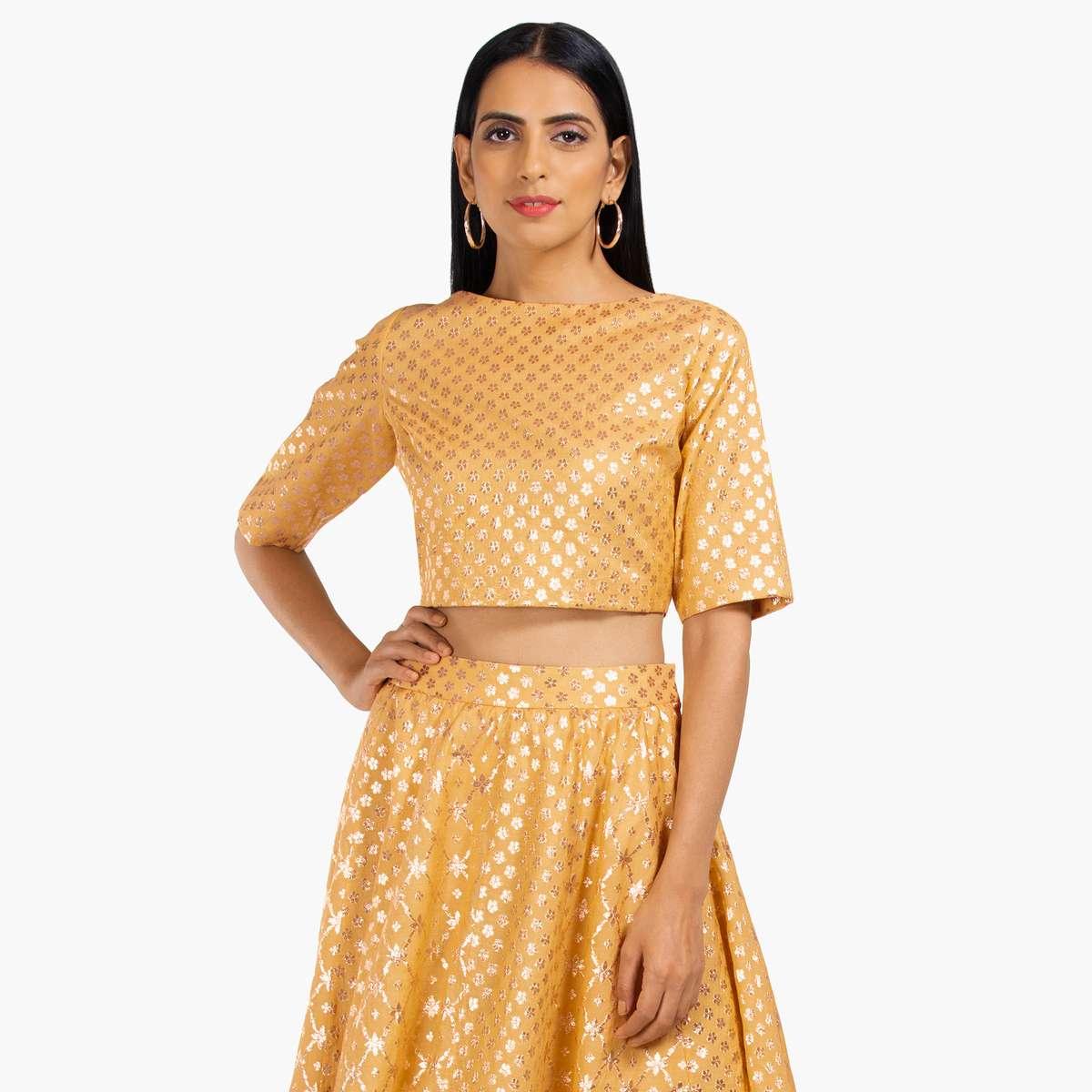 3.INDYA Embroidered Short Sleeves Crop Top