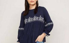 1.FAME FOREVER Women Embroidered Round Neck Top