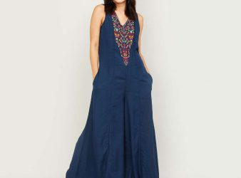 1.COLOUR ME Women Embroidered Flared Jumpsuit