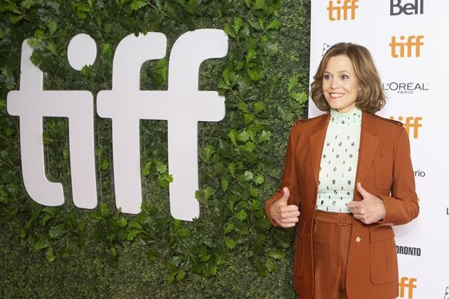 """Sigourney Weaver walks the red carpet as she promotes the film """"The Good House"""" during the Toronto International Film Festival, on Wednesday, September 15, 2021. THE CANADIAN PRESS/Chris Young"""