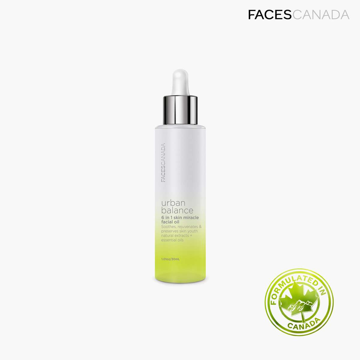 3.FACES CANADA Urban Balance 6 in 1 Skin Miracle Facial Oil
