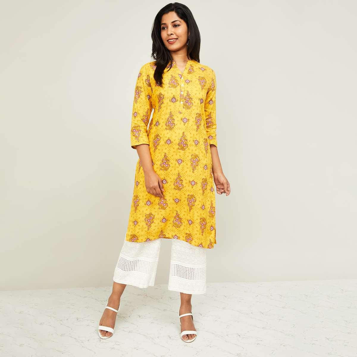 1.MELANGE Women Printed Three-quarter Sleeves Kurta