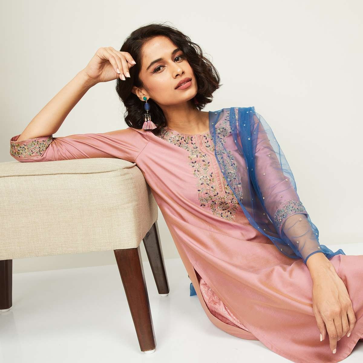 1.MELANGE Women Embroidered Straight Kurta with Salwar and Dupatta